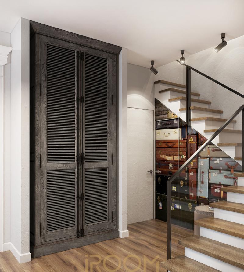 dizajn doma na Rublevke kuhnya v stile loft koridor