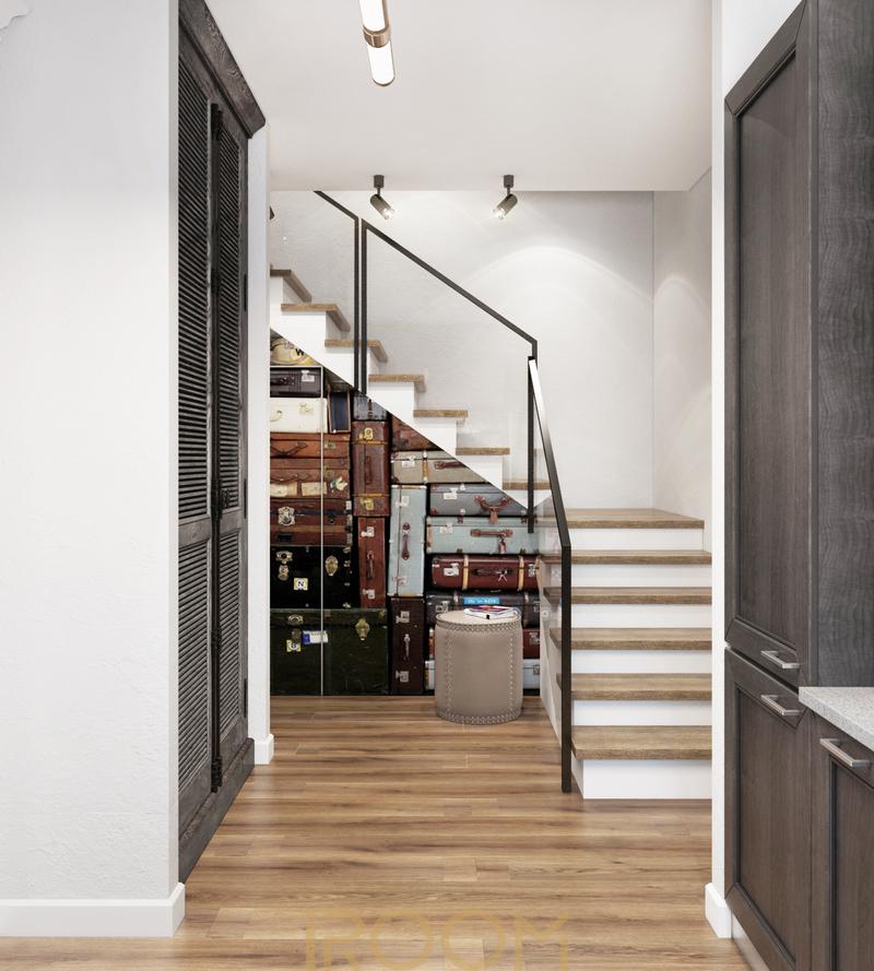 dizajn doma na Rublevke kuhnya v stile loft lestnichnyj holl