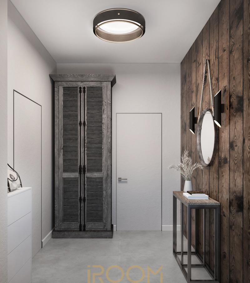 dizajn doma na Rublevke v stile loft prihozjaya