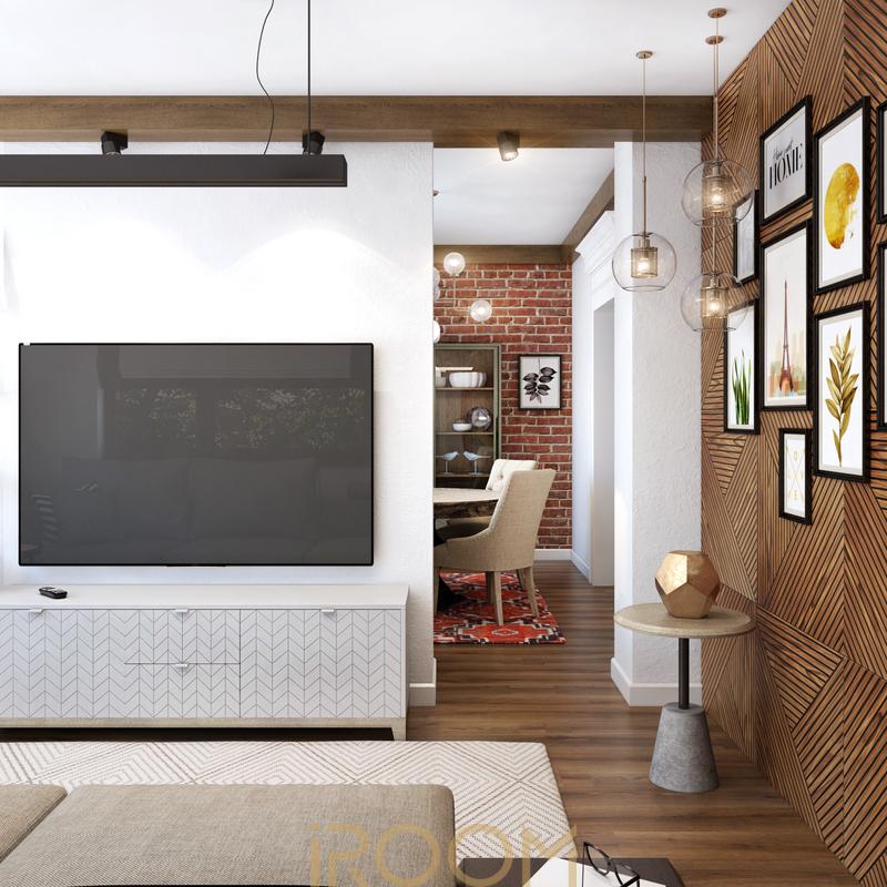 krasivyj dizajn doma na Rublevke gostinaya