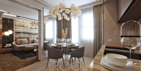 dizajn odnokomnatnoj kvartiry na Michurinskom gostinaya i kuhnya 5 540x272 - Дизайн помещения стоимость Design
