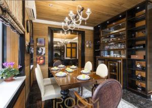 interer zagorodnogo doma KP Pokrovskij kuhnya 2 300x214 - Квартира на ул. Советской Армии 202 м²