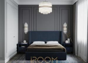 interer spalni shirokaya ulica 1 300x214 - Спальная комната в неоклассическом стиле