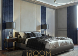 interer spalni v chastnom dome Borki 1 300x214 - Спальная комната в неоклассическом стиле