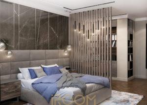interer spalni zhk novorizhskij 1 300x214 - Спальная комната в загородном доме
